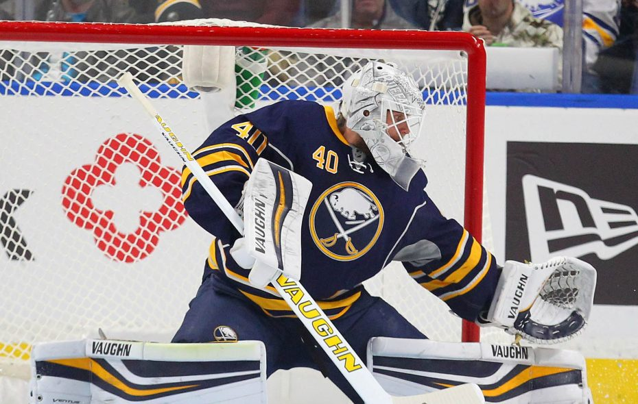 Buffalo Sabres Robin Lehner makes a stop in the first period of a game  against the Tampa Bay Lightning on Nov. 17, 2016, at the Key Bank Center.  (Mark Mulville/Buffalo News)