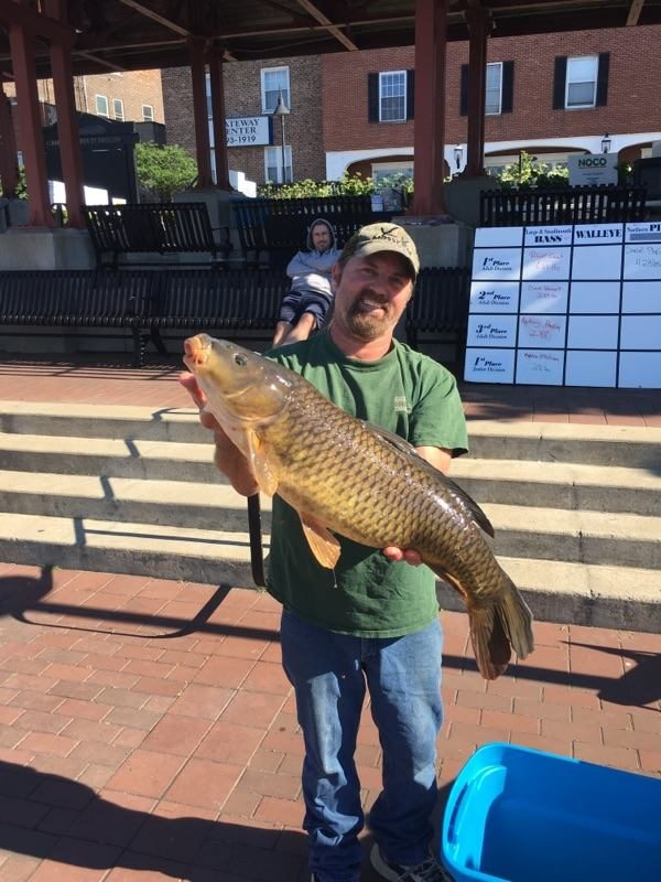 Matt Steffan of Williamsville reeled in the first place carp in the Hooked on Fishing Tournament in the Erie Canal June 24-25. It weighed 19.66 pounds