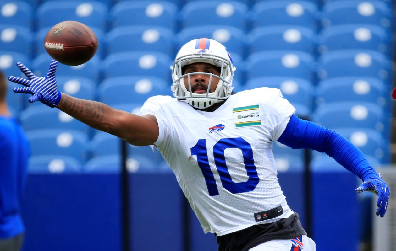 Buffalo Bills receiver Philly Brown reaches for a ball  during practice on Aug. 29, 2017. (Harry Scull Jr./Buffalo News)