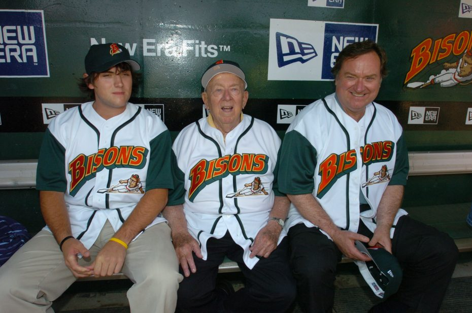 The Russerts - Luke, 'Big Russ' and Tim - at a Bisons game in 2005: On that day, an old mystery was resolved about a Luke Easter home run ball. (James P. McCoy/The Buffalo News)