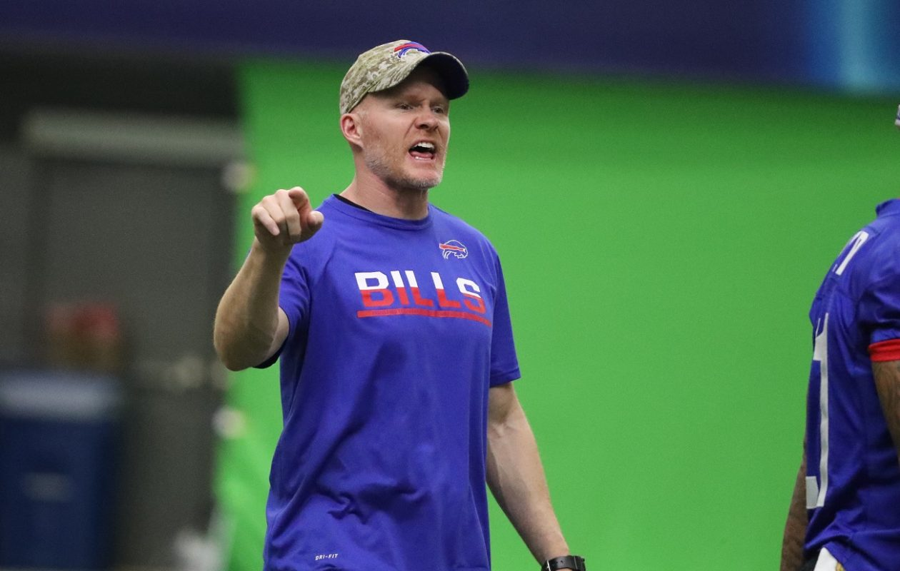 Buffalo Bills head coach Sean McDermott runs practice at ADPRO Sports Training Center prior to his first season.  (James P. McCoy/Buffalo News)