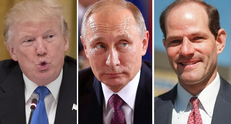 New Yorkers' unfavorability rating for President Trump, left, is 62 percent, Russian President Vladimir Putin 73 percent. Only former Gov. Eliot Spitzer, right, fared worse in a Siena poll.  (Getty Images of Trump and Putin, News file photo of  Spitzer)
