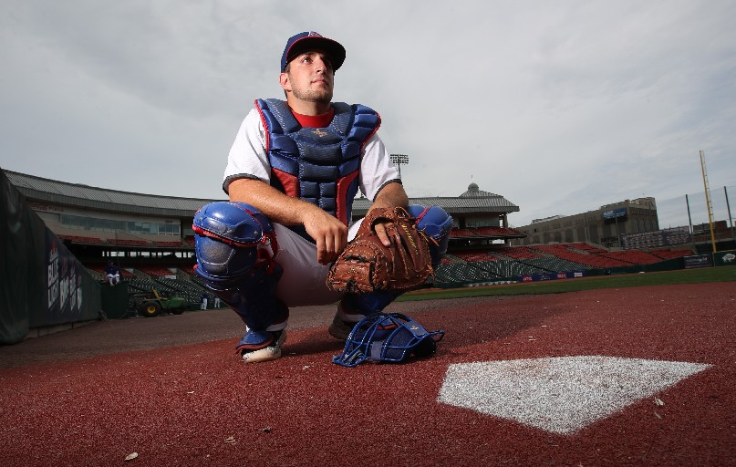 Hamburg native Eric Simoncelli has been the Bisons bullpen catcher for five seasons. (James P. McCoy/Buffalo News)