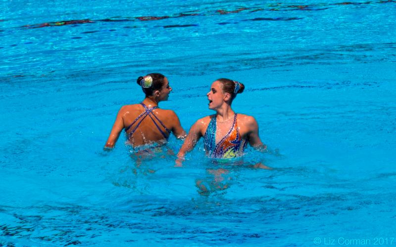Anita Alvarez and Victoria Woroniecki finished 11th in the duet free Thursday at the FINA World Championships in Budapest, Hungary. (USA Synchro)