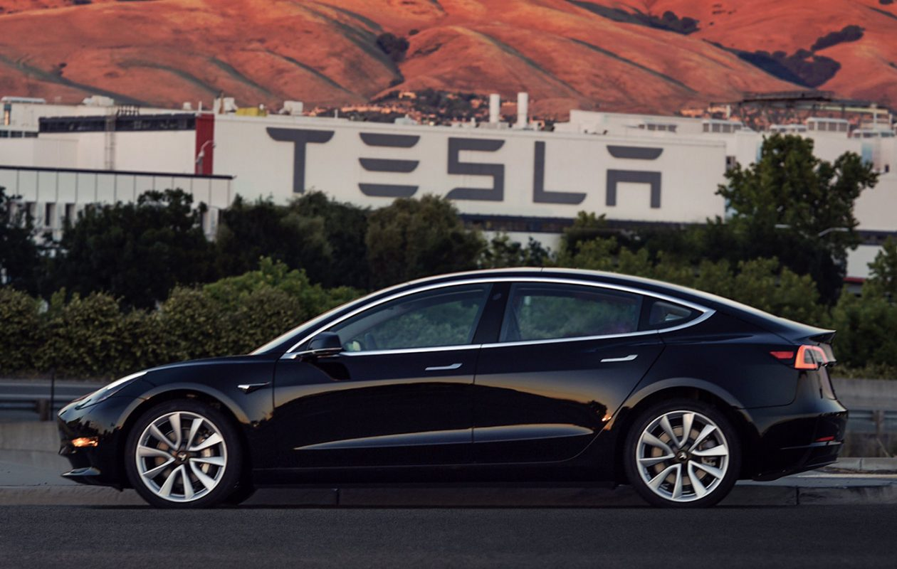 Tesla Inc. has said it will turn over the first 30 Model 3 electric vehicles on Friday. The first Tesla Model 3, shown here in a Tesla handout photograph, goes to CEO Elon Musk. (Tesla)