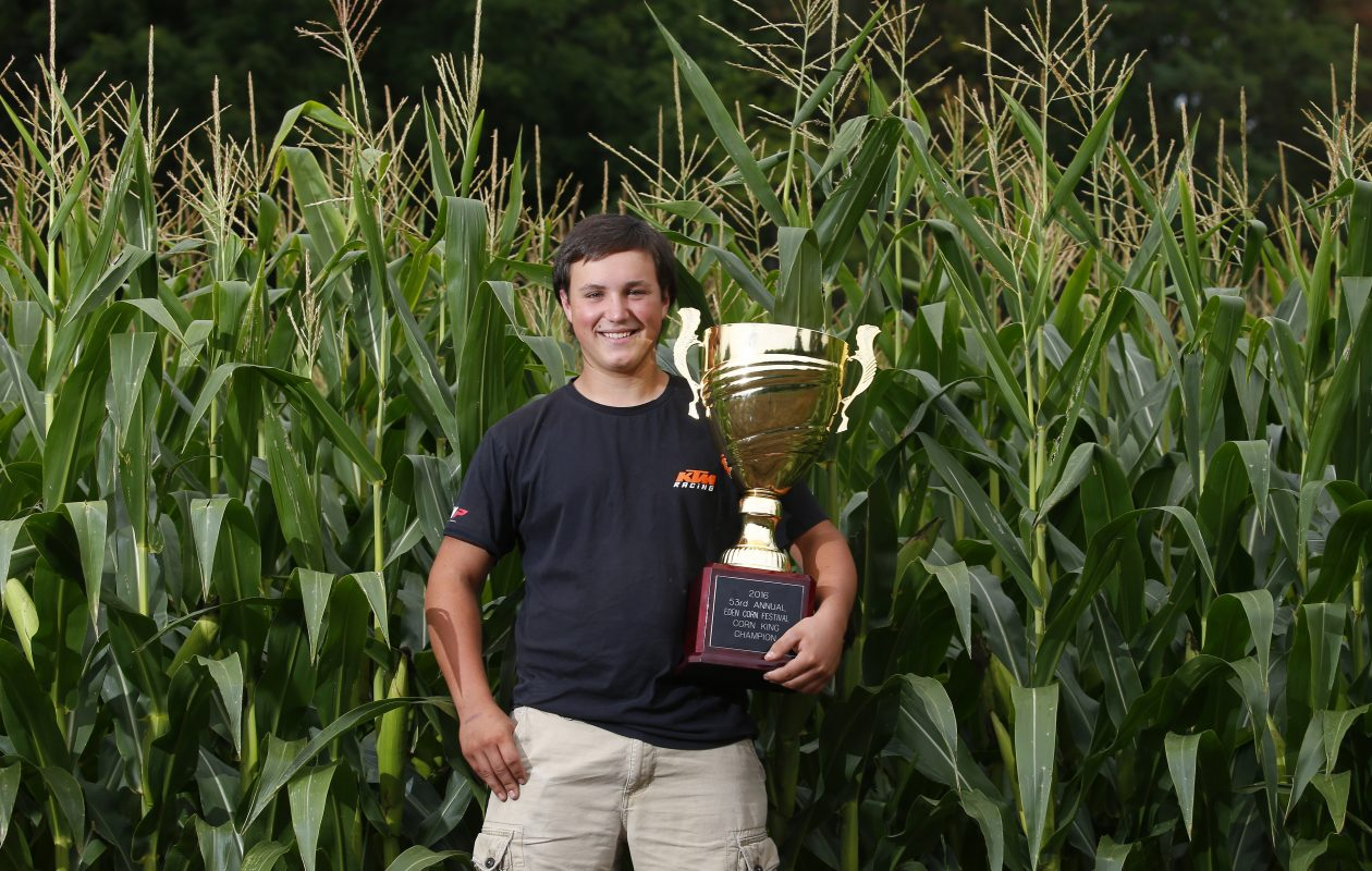 Alan Henry, shown with last year's trophy, was named Corn King at the Eden Corn Festival  for the second year in a row Sunday.  (Mark Mulville/Buffalo News file photo)