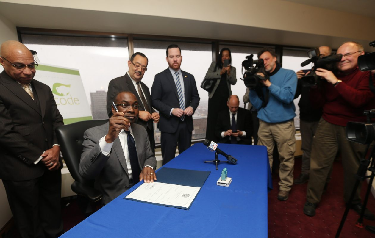 After 242 public meetings, Mayor Byron Brown signs the Green Code into law in January. (Sharon Cantillon/Buffalo News file photo)