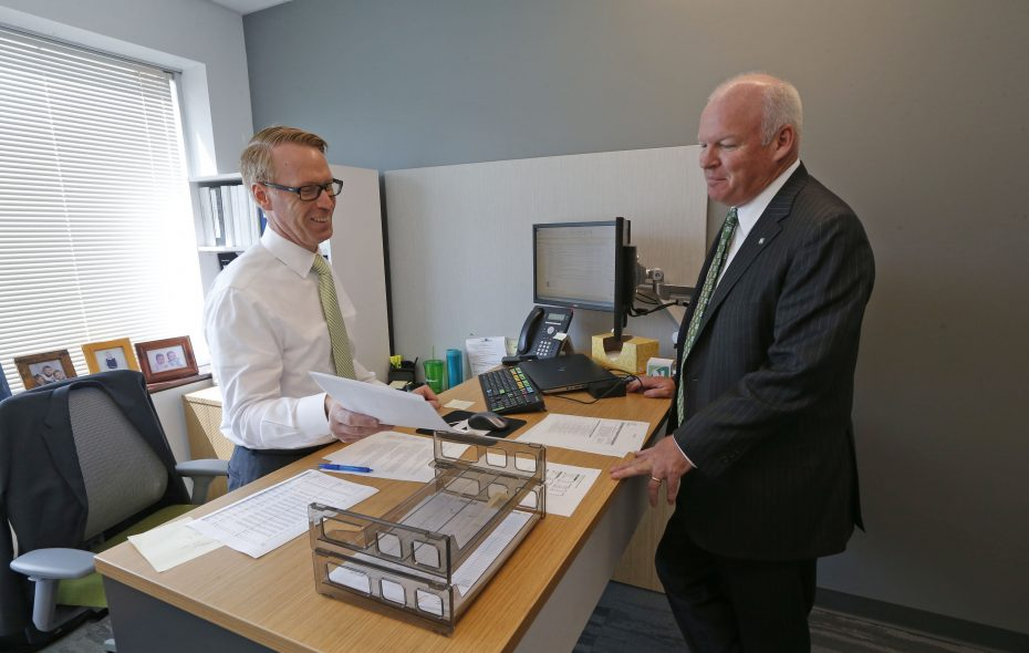 John Golding, right, and Jeffrey Maddigan, senior vice president and treasurer, in Northwest Bank's new administrative center in Amherst. The Amherst IDA granted incentives for the project in Ciminelli Real Estate Corp.'s Centerpointe Corporate Park. (Robert Kirkham/Buffalo News)