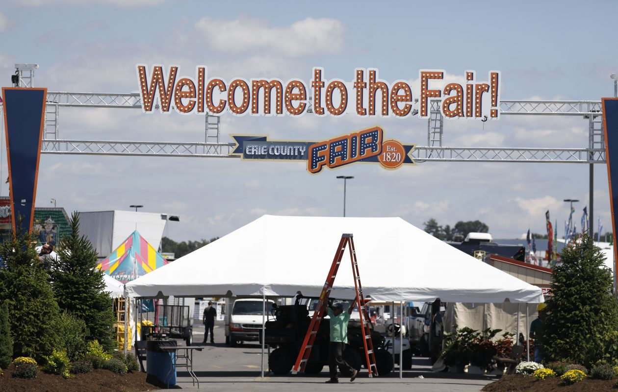 A new sign is installed at the South Park entrance to the Erie County Fair, Tuesday, Aug. 8, 2017.   (Derek Gee/Buffalo News)