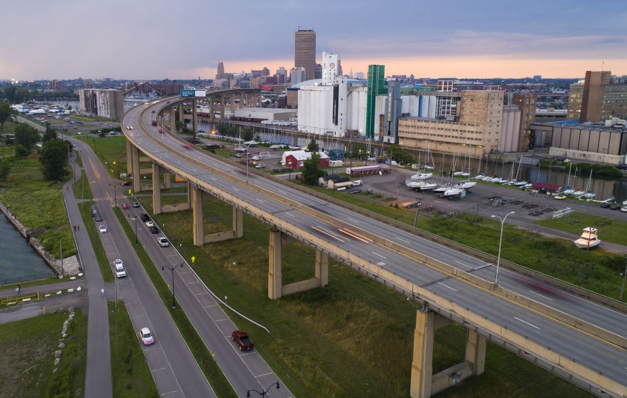 The Skyway leads into downtown Buffalo over the Outer Harbor, Thursday, July 27, 2017.  (Derek Gee/Buffalo News)