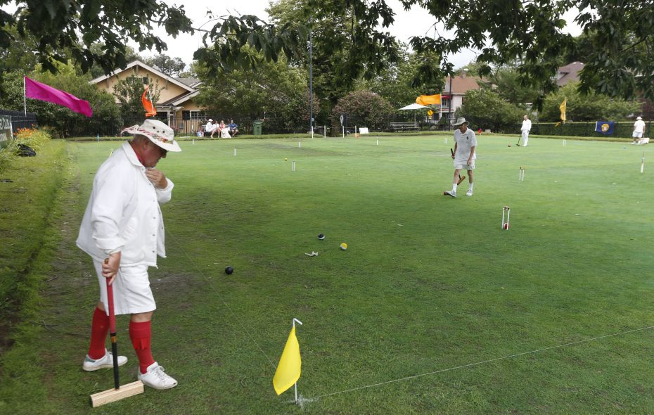 The field of play during the Buffalo Croquet Club 6-Wicket Invitational Tournament in Delaware Park in Buffalo on Saturday, Aug. 5, 2017.  (Robert Kirkham/Buffalo News)