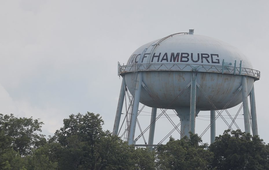 Residents voted on what type of hamburger will be painted on the Hamburg water tower. (John Hickey/Buffalo News)