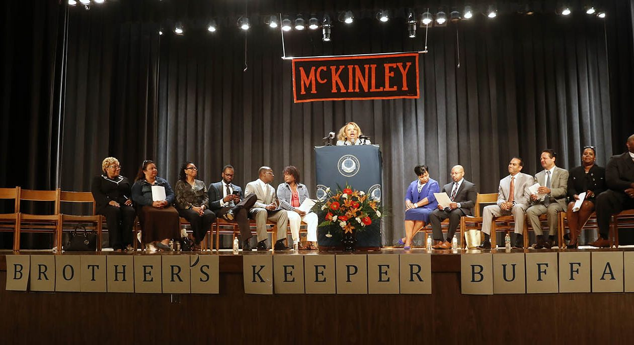 With banners spelling out 'My Brother's Keeper Buffalo' at McKinley High School on Monday, the Buffalo Public Schools launched the mentoring program to put boys of color on track toward graduation and a productive future. (John Hickey/Buffalo News)