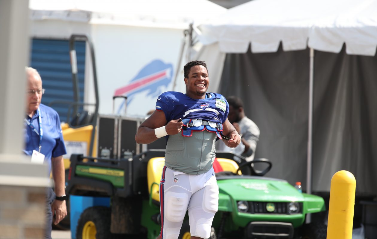 Buffalo Bills defensive end Eddie Yarbrough is all smiles after practice at training camp. (James P. McCoy / Buffalo News)