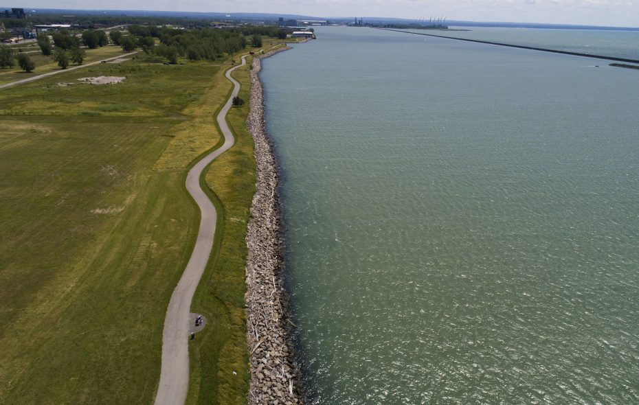 The Shoreline Trail runs along the edge of the Outer Harbor.  It was designed with the help of engineering firm Greenman-Pedersen Inc., which has just opened a new office in downtown Buffalo. (Derek Gee/Buffalo News)