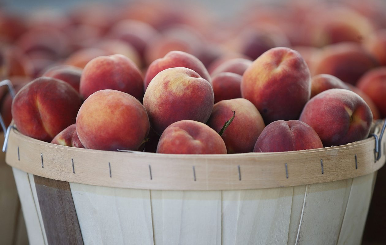 A basket of sweet, juicy peaches from Tower Orchards. (Sharon Cantillon/Buffalo News)