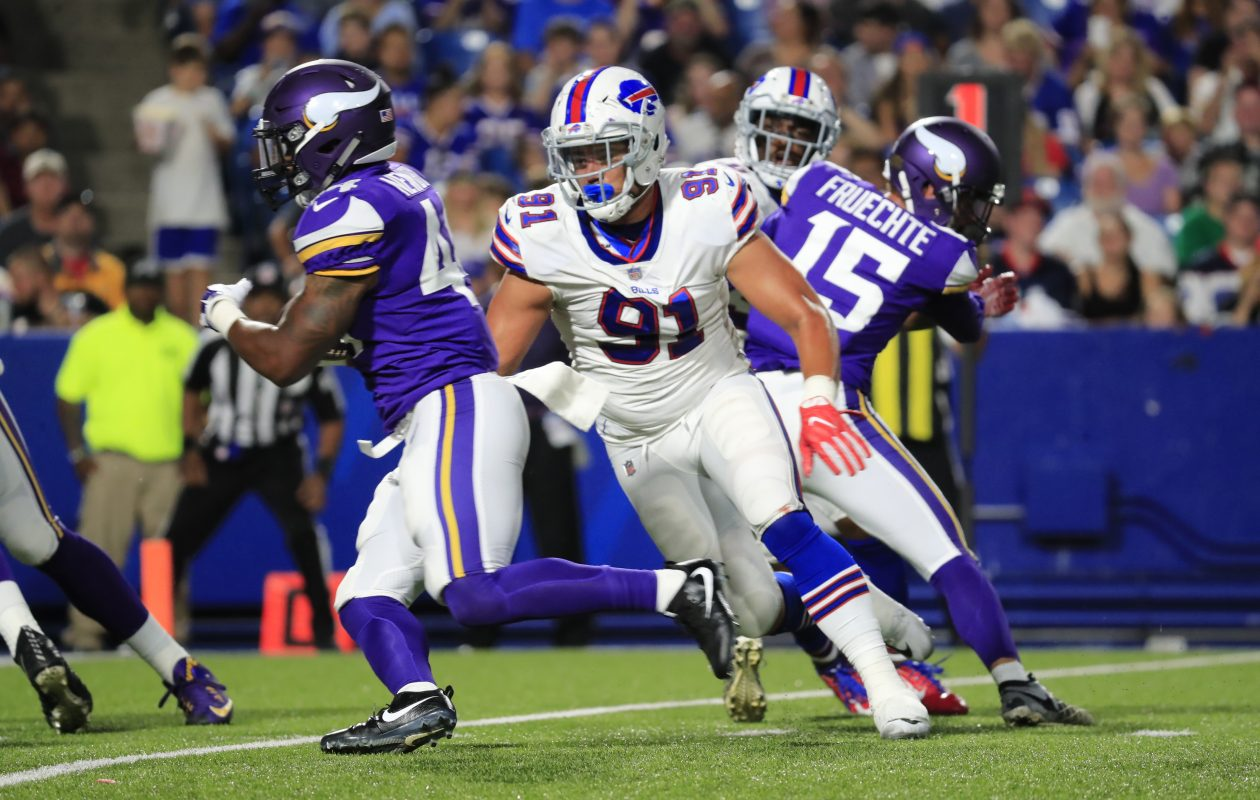 Ian Seau, pictured in action in the Bills' first preseason game, is the nephew of Junior Seau, the former NFL great who was found to have CTE after killing himself in 2012. (Harry Scull Jr./Buffalo News)