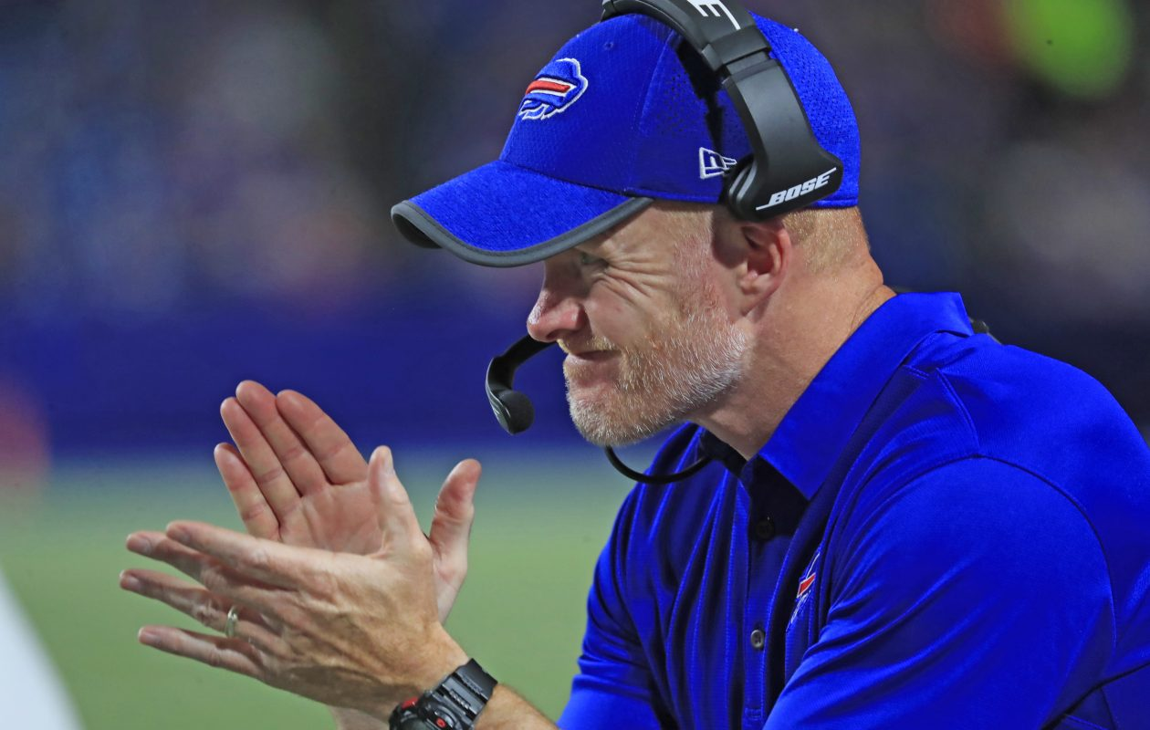 Bills coach Sean McDermott says it's important players communicate with the training staff early in the season to try and avoid injury. (Harry Scull Jr./Buffalo News)