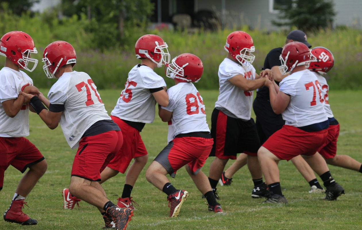 Lancaster linemen will get to hit someone wearing a different jersey Saturday during a scrimmage at Clarence.(Harry Scull Jr./Buffalo News)