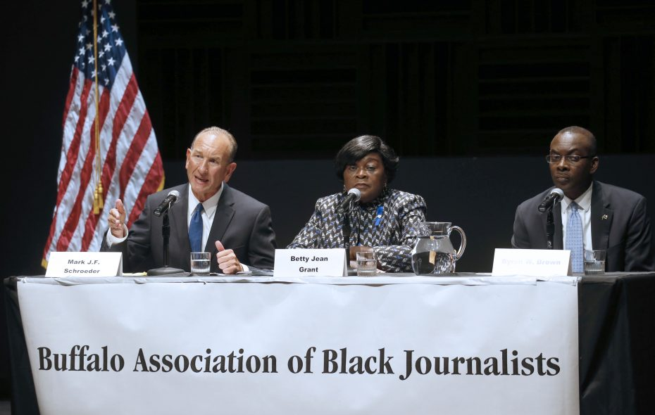 From left, Mark J.F. Schroeder, Betty Jean Grant and Mayor Byron Brown. The three Democratic candidates running for Buffalo mayor met for a debate hosted by the Buffalo Association of Black Journalists at the Burchfield Penney Art Center on Thursday, Aug. 17, 2017.  (Robert Kirkham/Buffalo News)