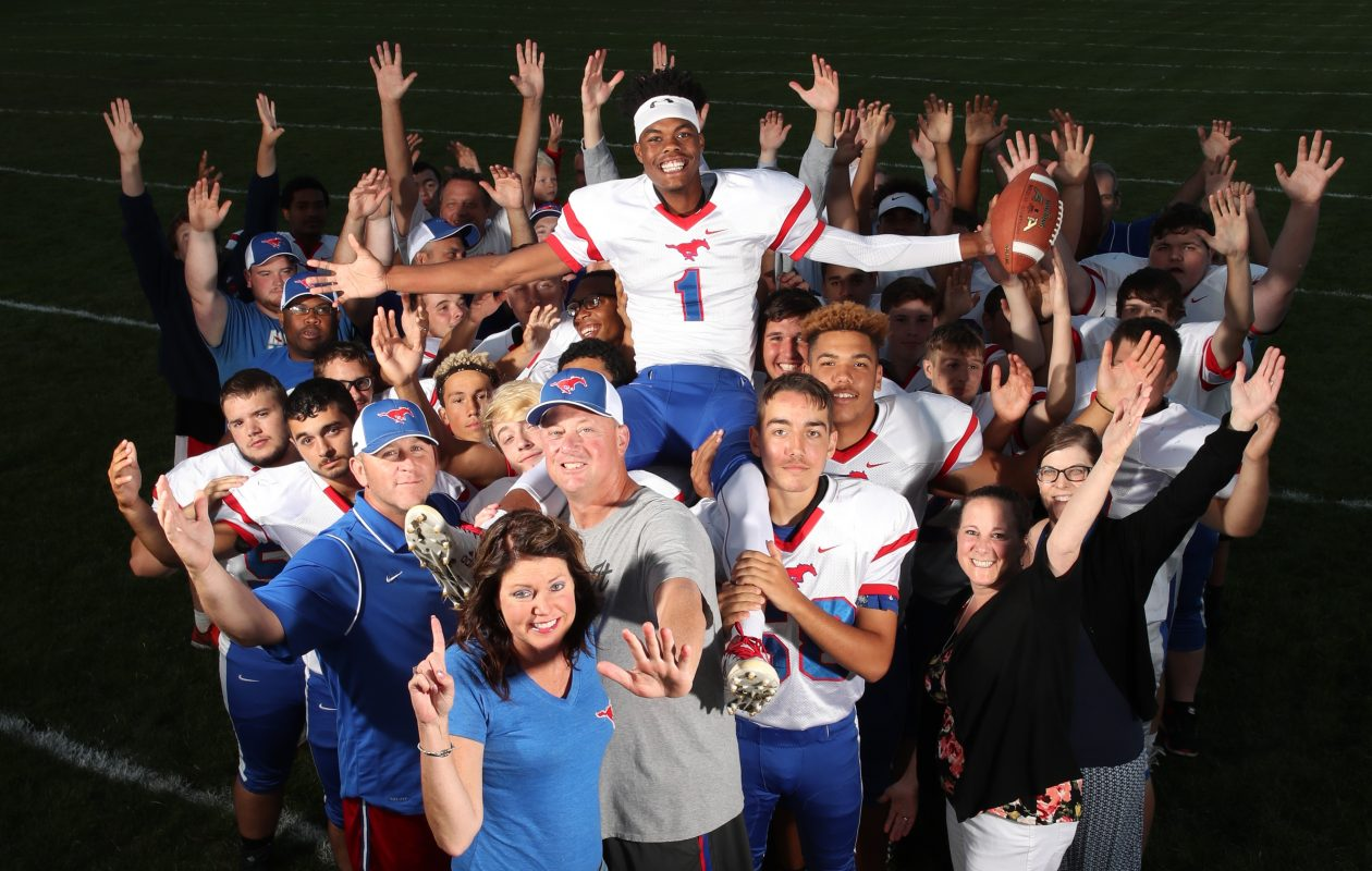 It takes a village to raise a child, and Jalin Cooper's rise to Division I recruit status would not have happened without assistance from those in the village of Medina.  (James P. McCoy/Buffalo News)