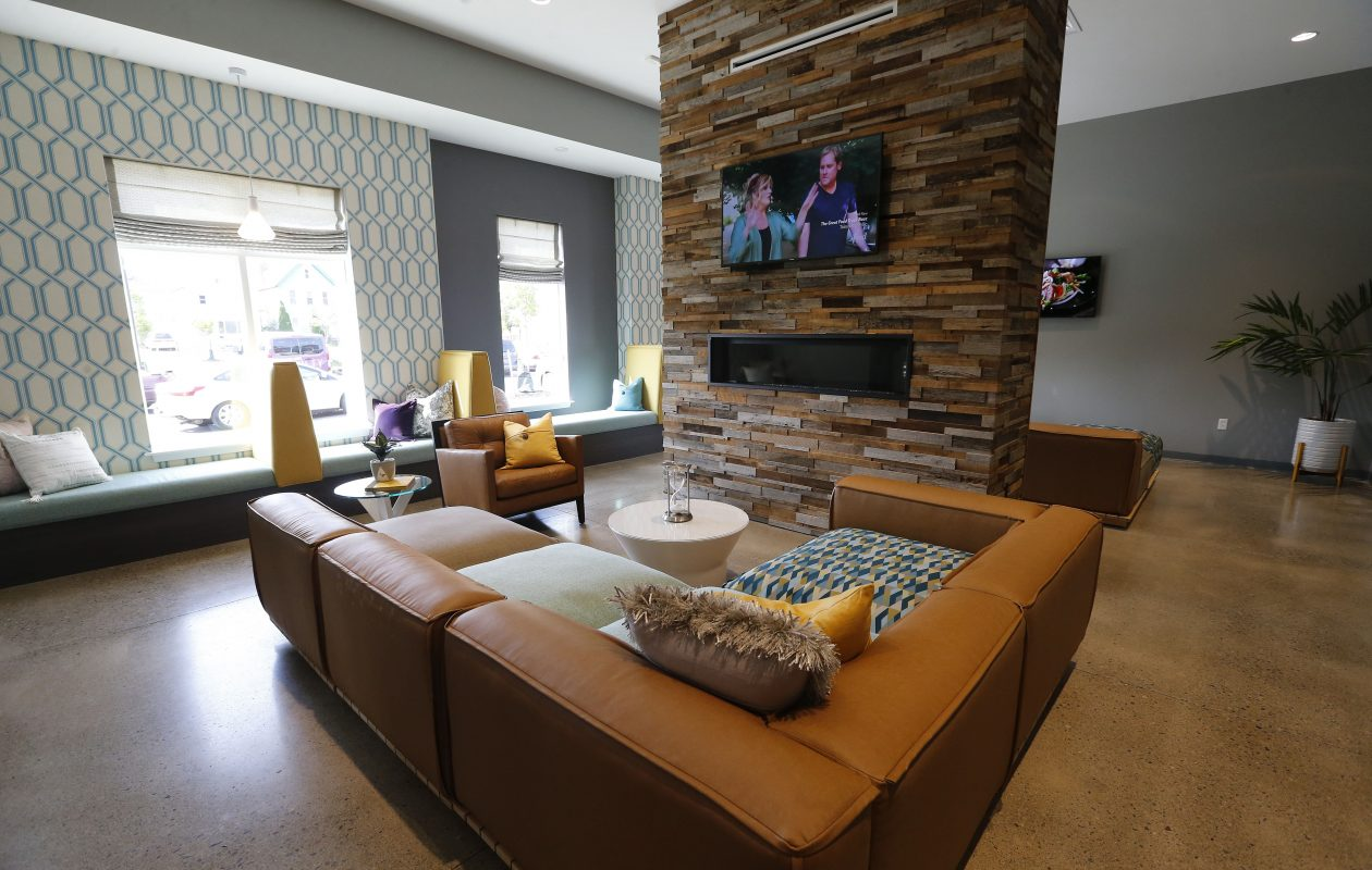 A study area in the clubhouse at Monarch 716. (Mark Mulville/Buffalo News)