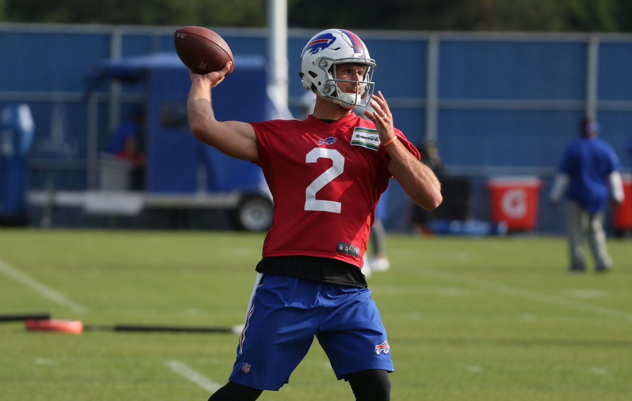 Nathan Peterman was the only quarterback at the Buffalo Bills practice Sunday at ADPRO Sports Training Center. (James P. McCoy/Buffalo News)