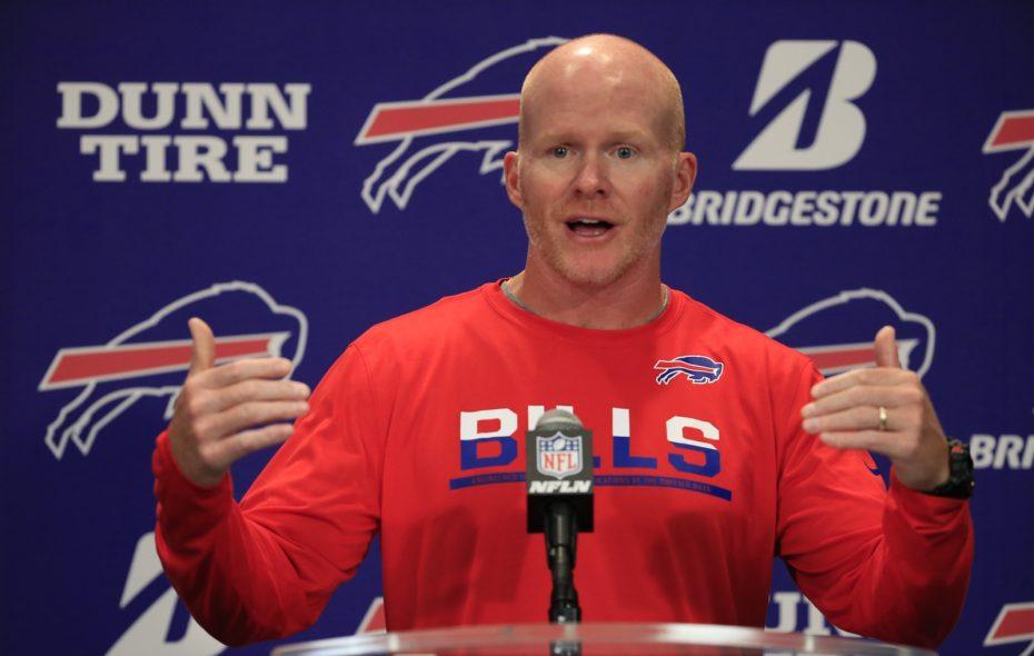 Sean McDermott speaks to the media Tuesday at One Bills Drive.  (Harry Scull Jr./Buffalo News)