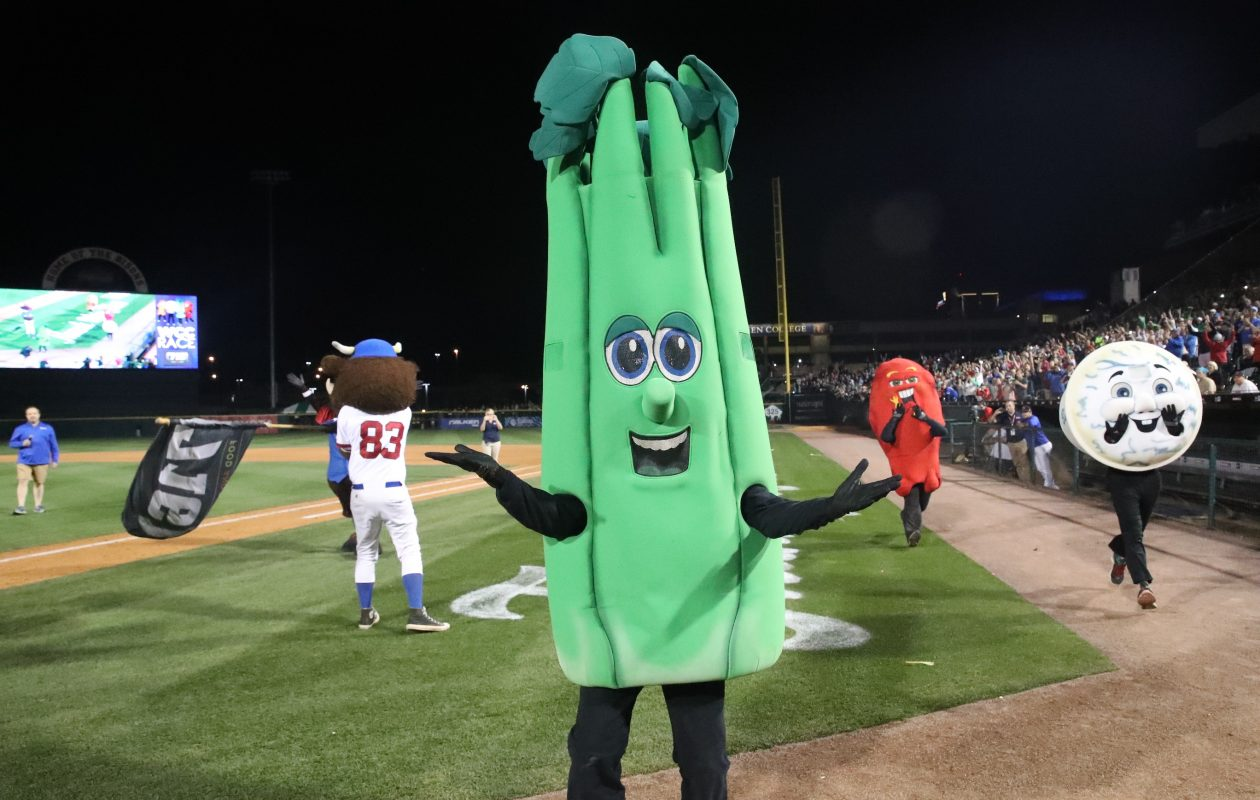 Celery celebrates its first win -- in its final race-- at Coca-Cola Field on Wednesday, Aug. 30, 2017.  (James P. McCoy/Buffalo News)