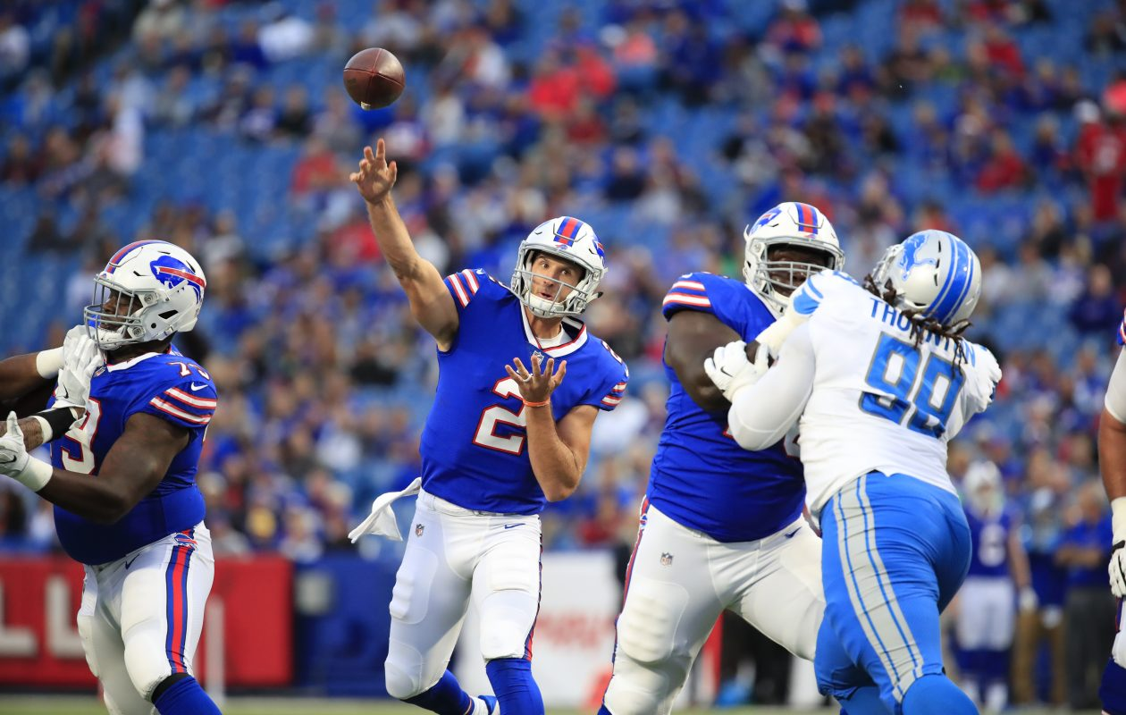 Nathan Peterman throws against the Detroit Lions during the Bills' preseason finale. (Harry Scull Jr./Buffalo News)