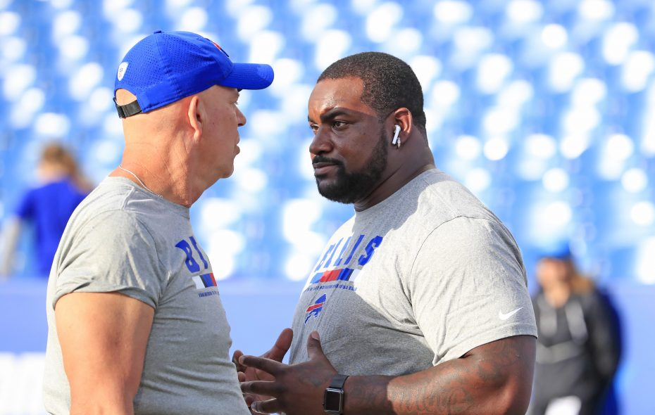 Buffalo Bills Marcell Dareus talks with Mike Waufle defensive line coach prior to playing the Detroit Lions at New Era Field on Thursday, Aug. 31, 2017.(Harry Scull Jr./Buffalo News)