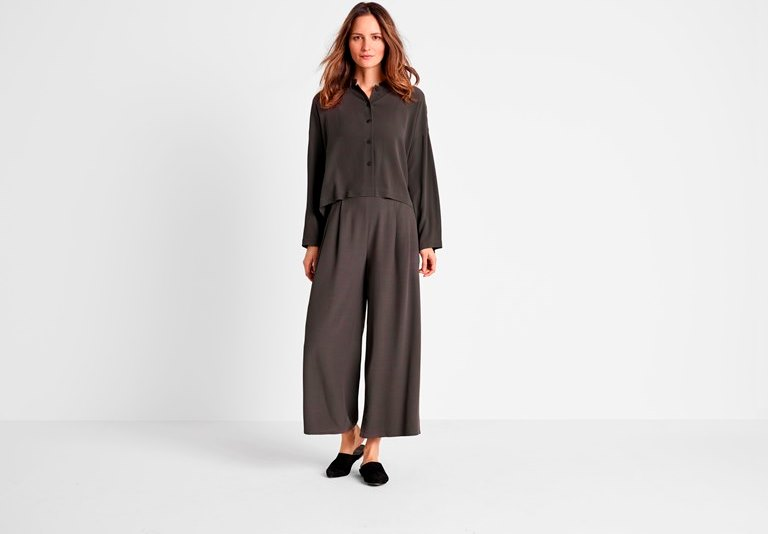 ff5332ad6a6 Relaxed looks include this short boxy shirt in Tencel viscose crepe from  Eileen Fisher