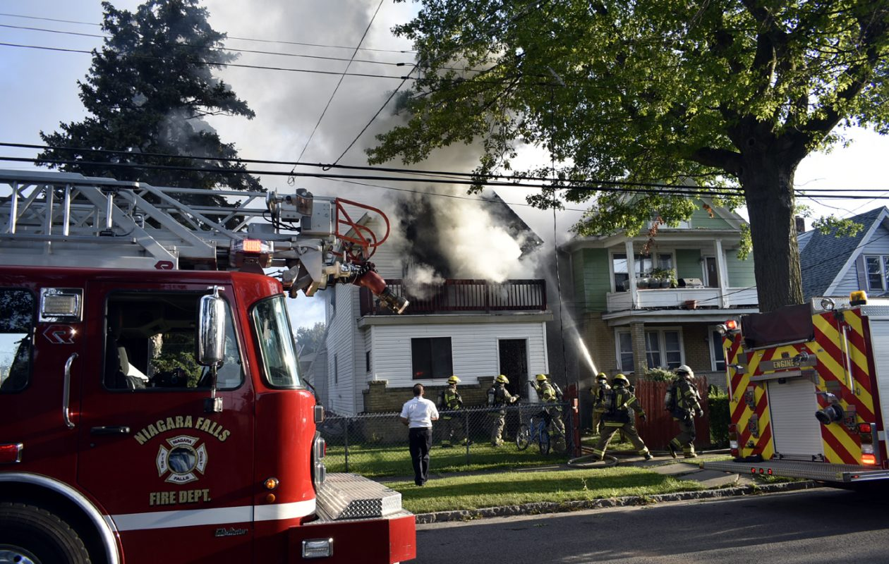 No one was injured in this  fire at 2410 Grand Ave. in Niagara Falls  on Sunday, Aug. 27, 2017. (Larry Kensinger / The Buffalo News)