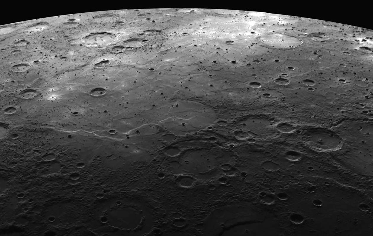 Weather on Mercury is tied to shadow versus sun: incredibly cold shadow versus searing sunlight. (NASA, JHU APL, CIW)