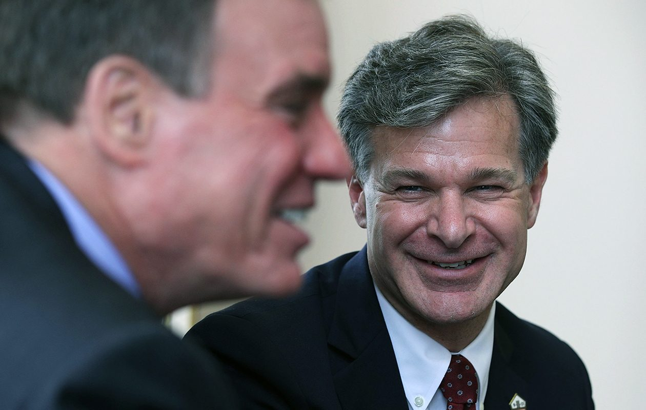 It is highly unusual for the White House and the FBI to be publicly at odds over a matter of national security, and it is unclear what impact the disagreement might have on the standing of FBI Director Christopher Wray, above, and Deputy Attorney General Rod Rosenstein. (Getty Images)