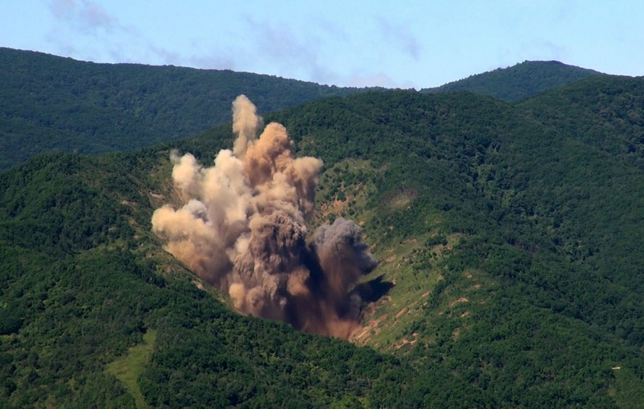 In this handout image provide by South Korean Defense Ministry, a bomb hits a mock target at the Pilseung Firing Range Friday in Gangwon-do, South Korea. The ballistic missile launched by North Korea flew over Northern Japan and fell into the Pacific Ocean.  (Photo by South Korean Defense Ministry via Getty Images)