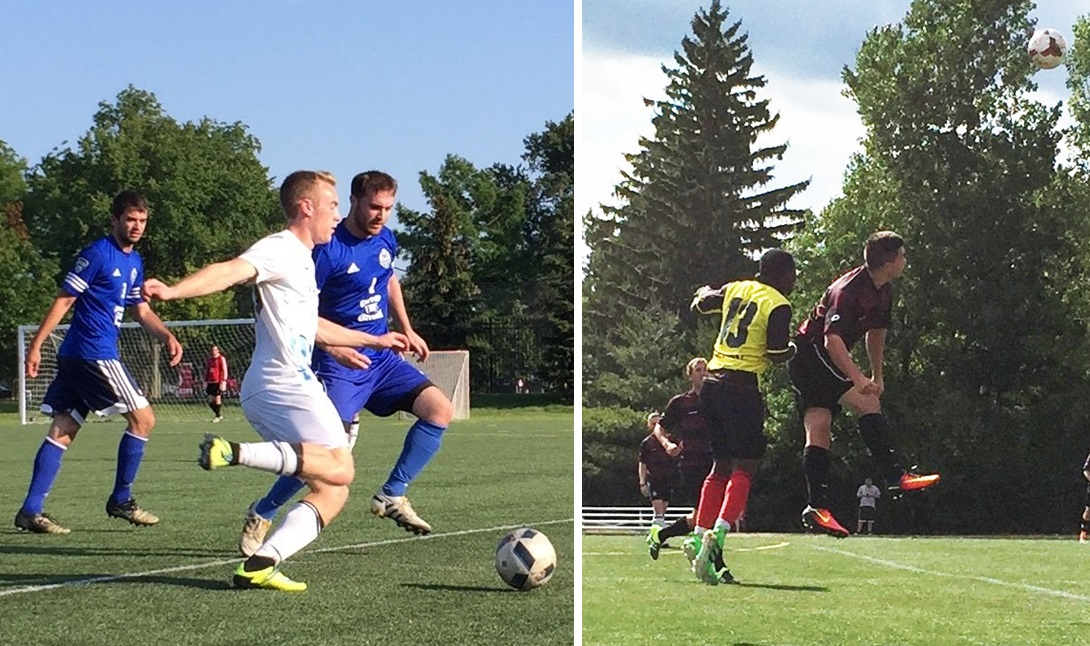 Jeff Bellinger, for Willies in white, and Caleb Richards, in dark for Wolfpack, will square off in one BDSL championship semifinal on Sunday. (Ben Tsujimoto/Buffalo News)