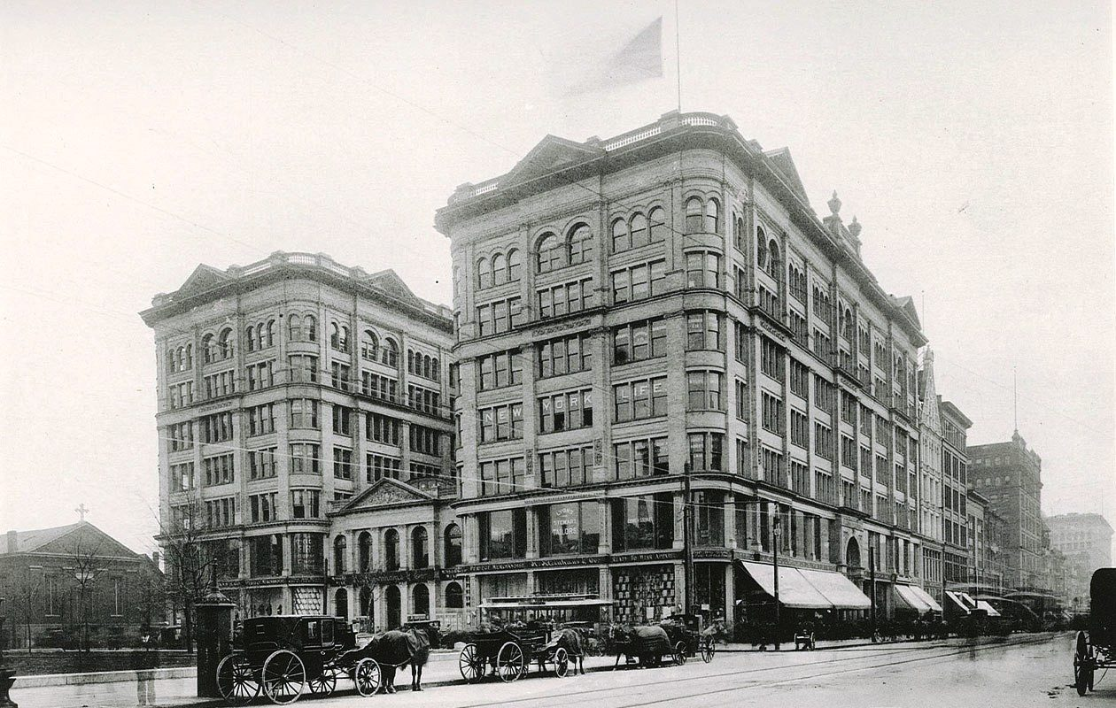 The Mooney & Brisbane Building, pictured in 1896. (Photo from 'Art Work of Buffalo, New York')