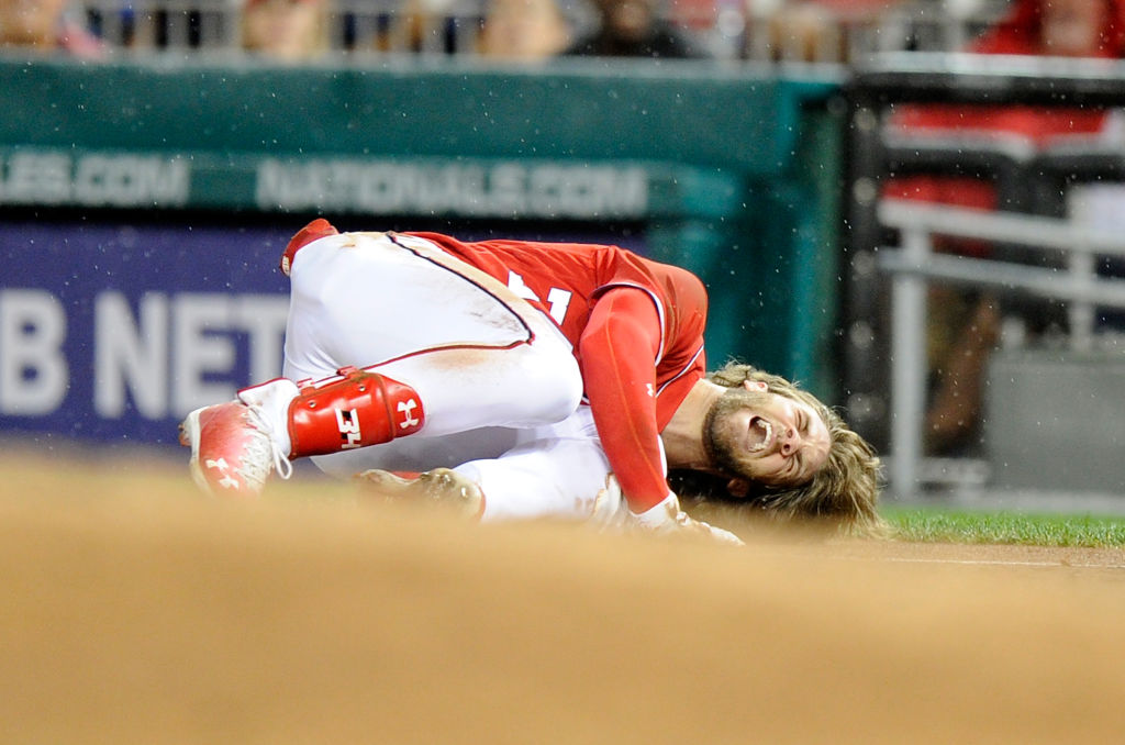 The Nationals are relieved that Bryce Harper's knee injury was not season-ending (Getty Images).