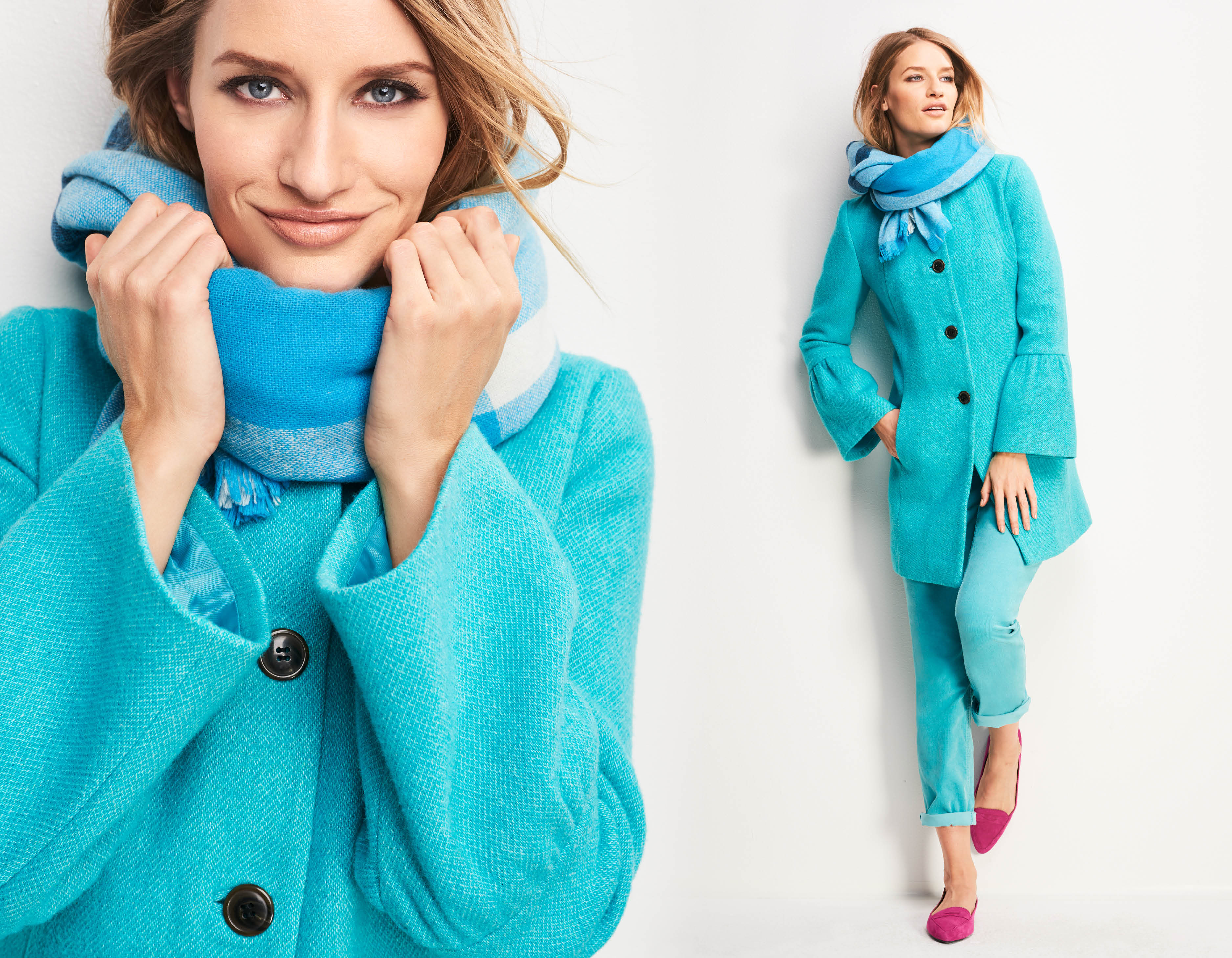 e78adbae73134 Bell-sleeve coat and pants in dark opal are from Talbots' Fall Look Book.