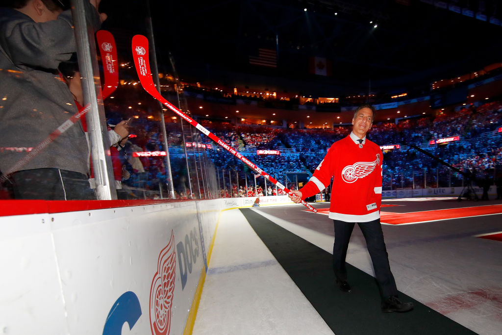 Chris Chelios enters the ceremony honoring Joe Louis Arena during its final game in April (Getty Images).