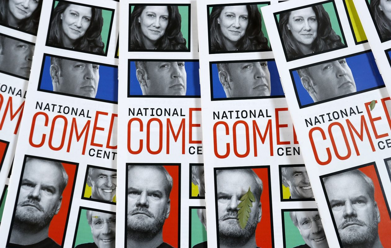 Programs at the National Comedy Center in Jamestown Thursday. (Mark Mulville/Buffalo News)