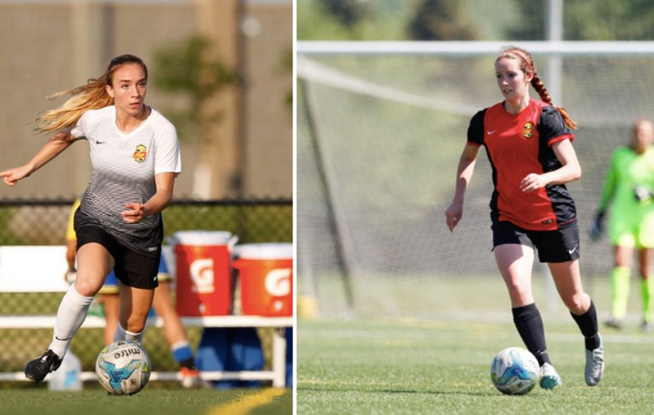 Carissima Cutrona, left, and Dani Braun earned United Women's Soccer honors for summer 2017. (Photos via Paul Ford)