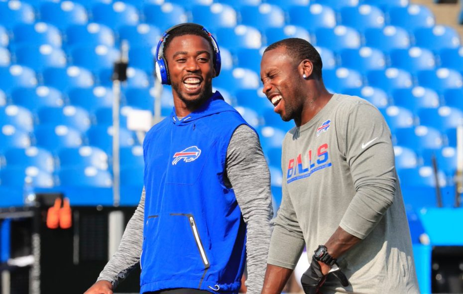 Quarterback Tyrod Taylor and wide receiver Anquan Boldin share a laugh before the Bills hosted the Vikings on Thursday night in the preseason opener for both teams. (Harry Scull Jr./Buffalo News)
