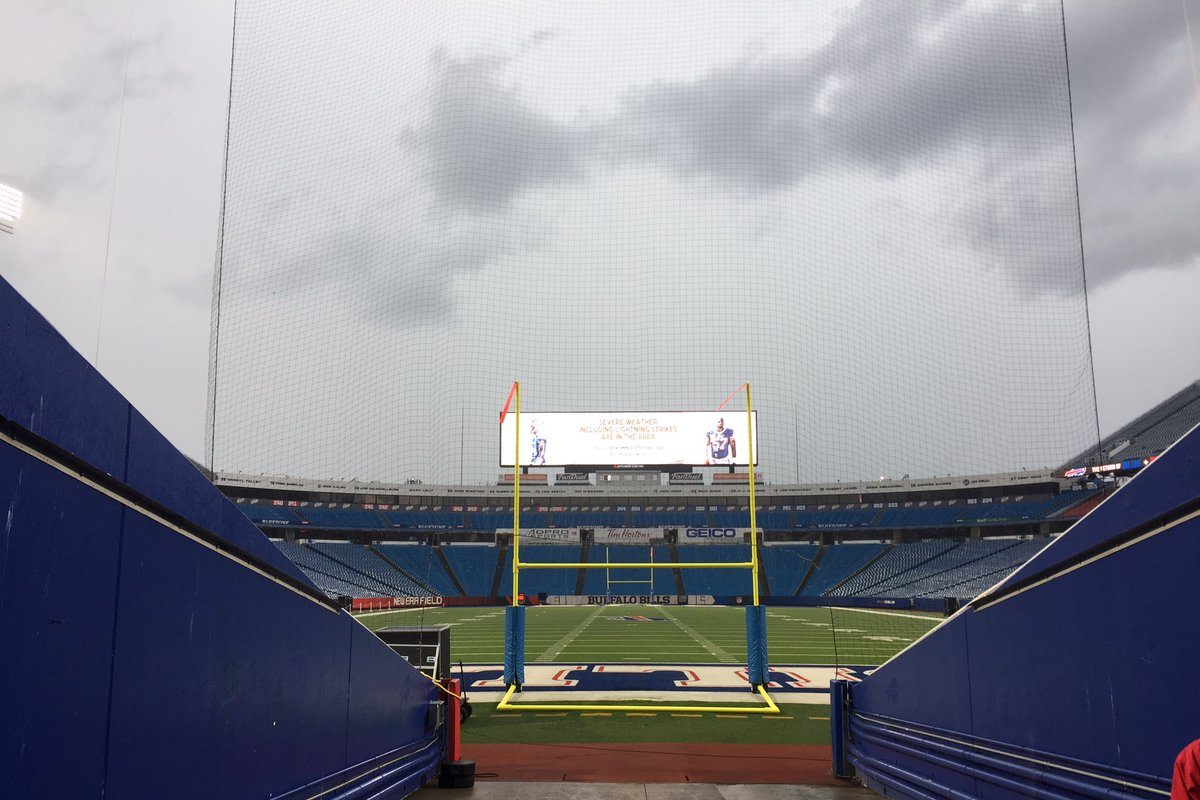 The sky over New Era Field before the start of the Buffalo Bills' open practice Friday night. (James P. McCoy/Buffalo News)