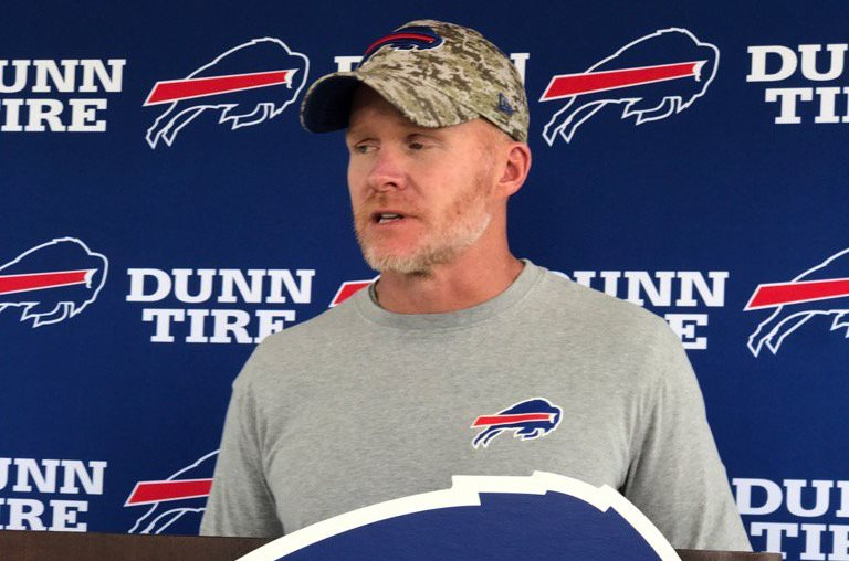 Bills coach Sean McDermott speaks with the media Sunday at Bills training camp in Pittsford. (Vic Carucci/Buffalo News)