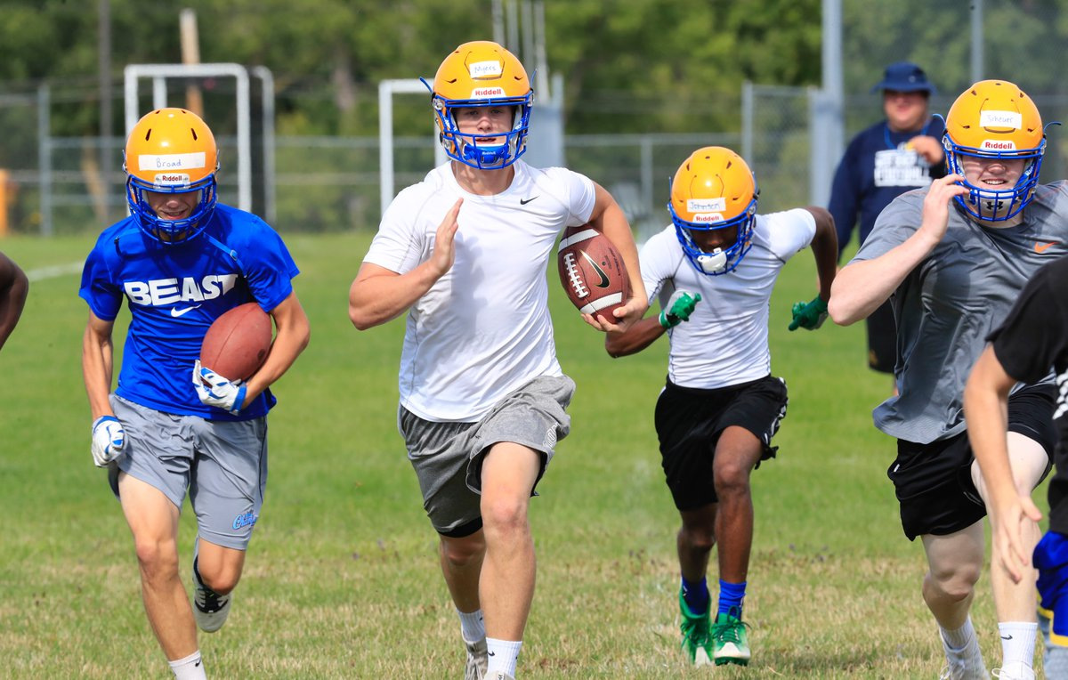 Matt Myers, center, and his West Seneca West teammates opened formal practices Monday. (Harry Scull Jr./Buffalo News)