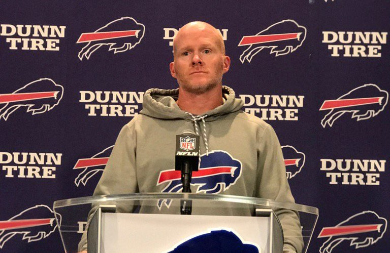 Buffalo Bills head coach Sean McDermott address the media before practice on Sunday, Aug. 27, 2017. (Vic Carucci/Buffalo News)