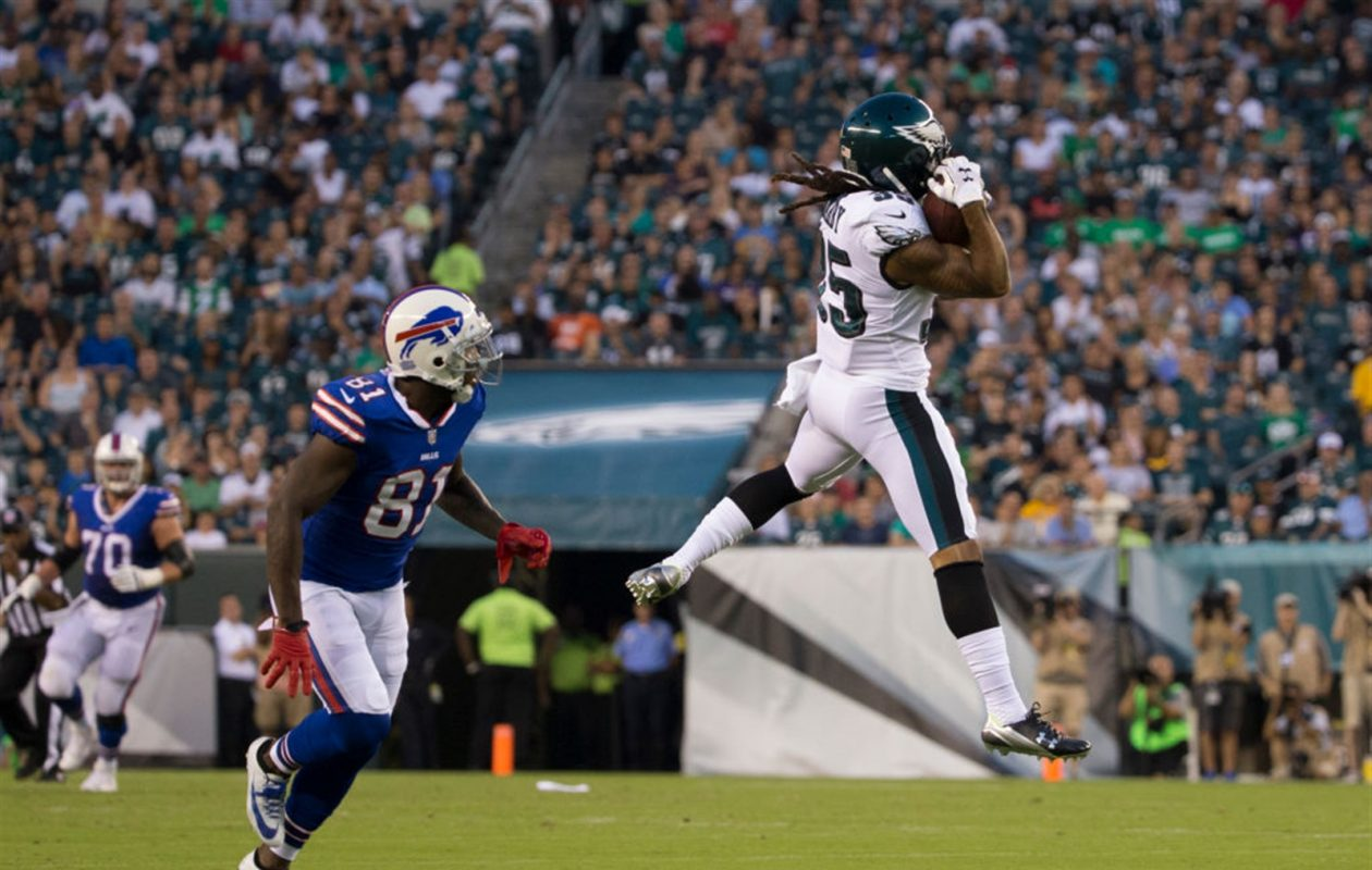 e783901c51fc2 Ronald Darby intercepts a pass intended for Anquan Boldin in the first  quarter. (Getty