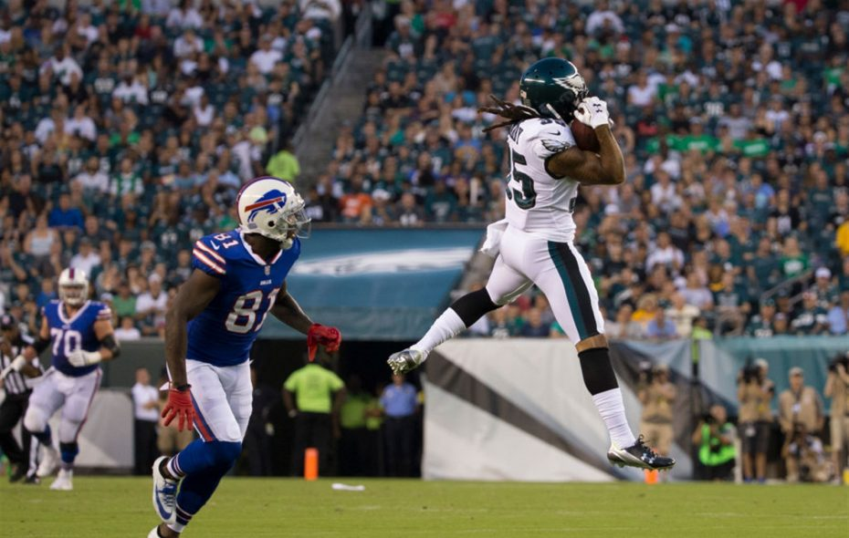 Ronald Darby intercepts a pass intended for Anquan Boldin in the first quarter. (Getty Images)